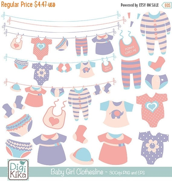 60%OFF Girl Baby Clothesline clip art baby clothing by ...