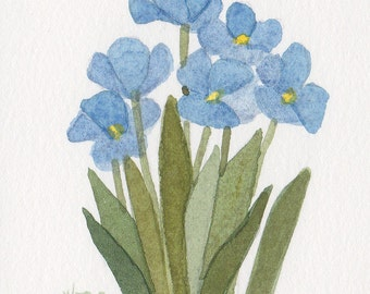 Blue Tulips 5x7 Matted Original Watercolor  by Wandas's Watercolors