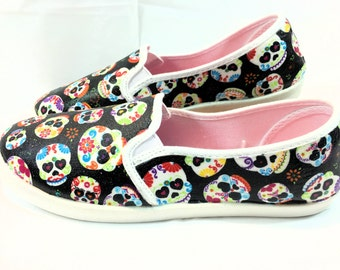 Day of the Dead Skulls Decoupaged Shoes Size 8