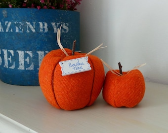 Pure wool and checked tweed decorative Autumn pumpkins - small size