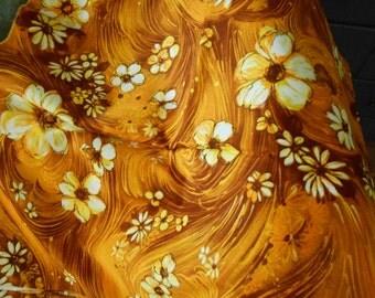 vintage Hawaiian fabric yardage, gold browns 2.5 yards