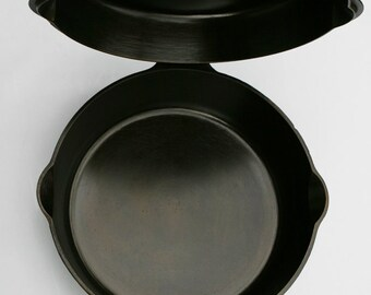 Antique GRISWOLD Set No 80 DOUBLE Skillet Block Logo Cast Iron Skillet Fry Pans Professionally Cleaned, Organically Seasoned Ready for Use