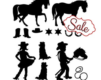 Cowgirl & Cowboy Wall Decals: Pony, Horse, Boots, Dogs - Kids Room Decor, Cowboy Decor, Baby Nursery Decals, Western Ranch, Old West