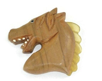 Vintage Wood Horse Brooch with Lucite Mane
