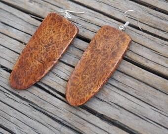 Wooden earrings - briar wood burl