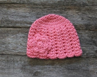 Baby Beanie in Coral Pink with Flower, 0-6 Months