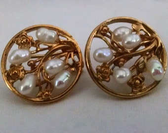 Earrings Vintage Unique Freshwater Pearl and Gold Circle Cluster Floral Leaves Post with Clip Back Elegant Runway Chic
