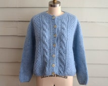 vintage 1960s baby blue mohair cardigan sweater / Small to Medium to Large ladies hand knit Italian wool sweater / blue fuzzy cardigan