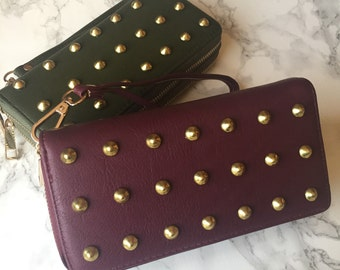 Jumbo Studded Clutch Wallet - Olive Green or Burgundy Faux Leather - Gold Studs