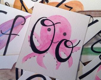 Handmade Watercolor Alphabet Cards - Flashcards - ABC's -Nursery Cards
