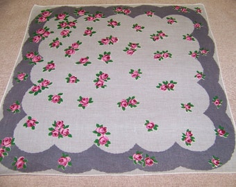 Vintage Gray Linen Hanky with Roses