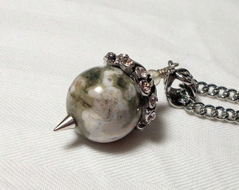 Ocean Jasper Stone With Antique Silver Crystal Accent Pendant Necklace Jasper Stone Pendant Necklace Jasper Necklace