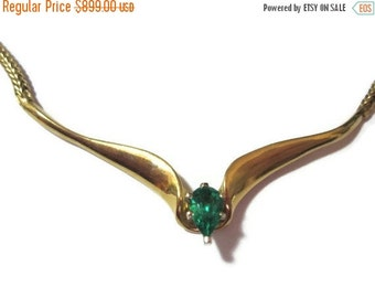 ON SALE Emerald 14K Gold Necklace