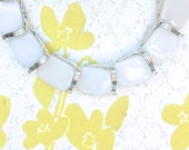Vintage White Moonstone Lucite Necklace Lisner