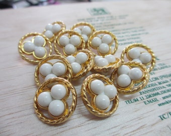 12 Vintage 16 mm Gold Tone Round Shank Button with 3 White Tone Round Shape Carbochons in the Center