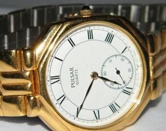 Mens Pulsar Roman Numeral Fancy Sub Dial Quartz Watch