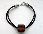 Natural Dark Brown Leather Shaded Brown Ebony Cube Wooden Bead Bracelet - Inspired by The Shannara Chronicles