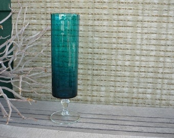 Vintage Glass Pedestal Vase, Collectible Art Glass, Teal Glass Vase
