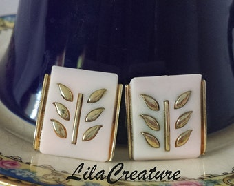 Coro Pink Lucite Clip On Earrings
