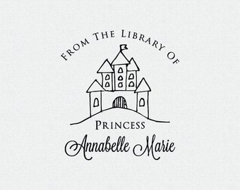 Princess Library Book Stamp, From the Library Of Stamp, Castle Book Stamp, Personalized Library Stamp, Gift for Little Girl, Kids (T394)