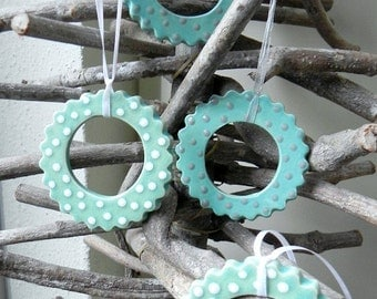 Summer Ceramic Ornaments Mother's Day Gift Mint Light Turquoise  Pottery Set of 2 Ornament