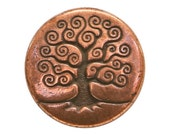 2 TierraCast Tree of Life 5/8 inch ( 16 mm ) Copper Plated Pewter Buttons