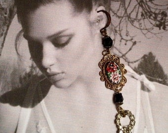 1920's Micro Mosaic Earrings Black Red Artisan French Paste