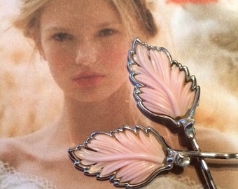 Decorative Hair Pins Bridal Jewelry 1950's Lisner Vintage Pink Leaves Hair Pins Bobby Pins