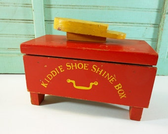 Vintage Toy Red and Yellow Wooden Kiddie Shoe Shine Box with Drawer