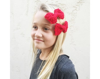 RED KNIT BOWS, Hand Knit Red Bows, Matching Hair Bow Clips