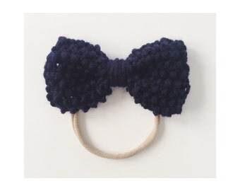 Knit Bow on Elastic band for Babies, Navy Blue Knit Bow Headband