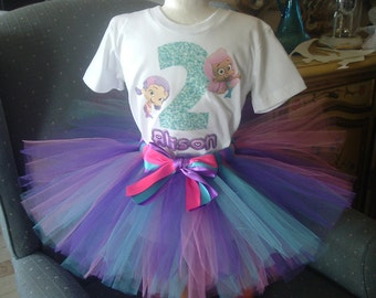 Bubble Guppies Halloween Costumes blue tropic mermaid tutu dress set all sizes toddler infant girls little disney peter pan bubble guppies princess teal green disney Pink And Purple Bubble Guppies Or Any Character And Colors Shirt And Tutu Tulle Skirt Costume