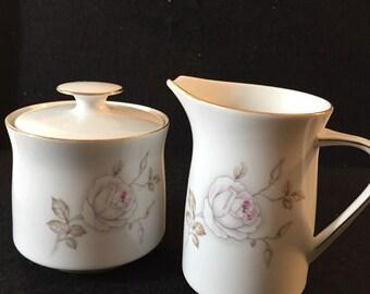 Dawn Rose Haviland China Sugar Bowl Creamer Set Bavaria Germany Vintage