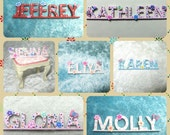 Your name in wooden letters, letters miniature, baby nursery letters, handmade miniature - Dollhouses Miniature scale 1:12