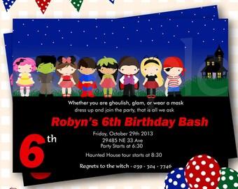 Costume Party Halloween Invitation, Halloween Birthday Invitations, Costume Birthday Party, Costume Party Birthday Invitations - H53