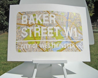BAKER STREET | Sherlock Holmes |handcut from a Vintage Map of London | Made in England