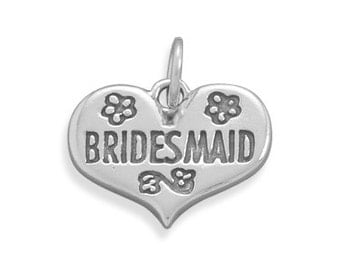 Wedding Charm for Bridesmaids Sterling Silver Heart Charm Imprinted with Bridesmaid Ideal for Bracelets and Bridesmaids Bouquets