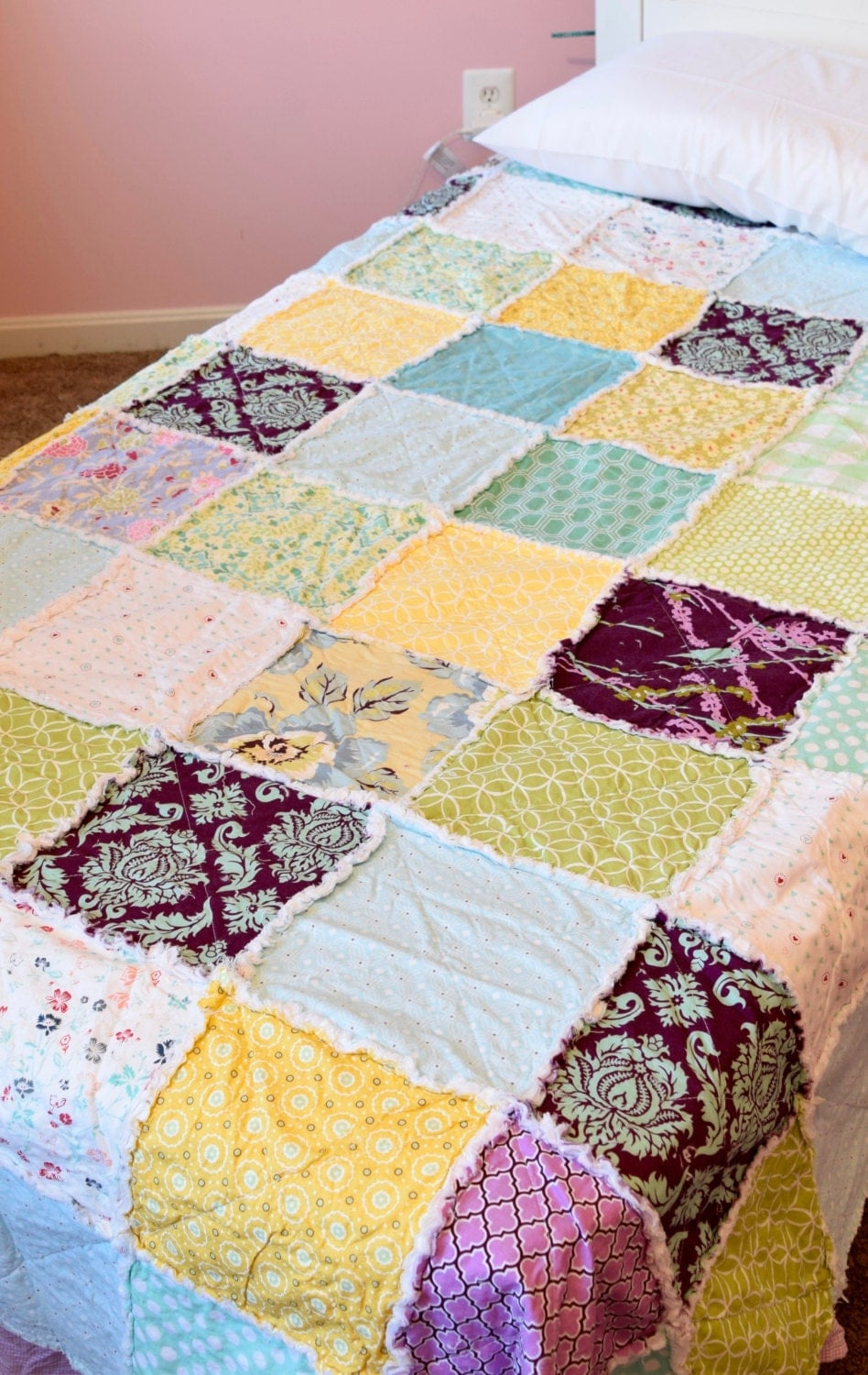 Twin size quilt Ready to ship Girl rag quilt by RedEyedStudio