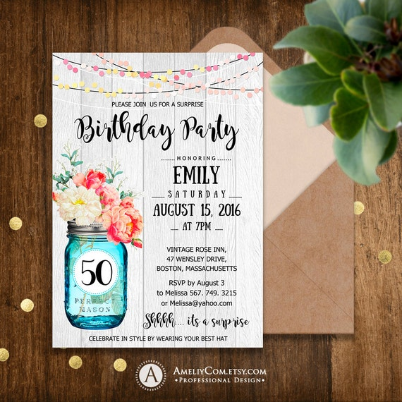 Birthday Party Invitations Printable Adult 50th Surprise