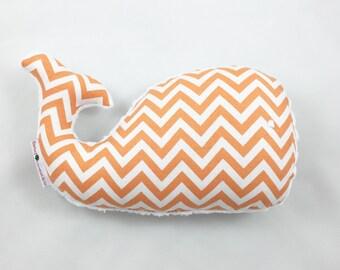 Whale Pillow, Whale Plush, Whale, Nautical Baby Gift, Nursery Decor, Nautical Nursery, Orange Whale