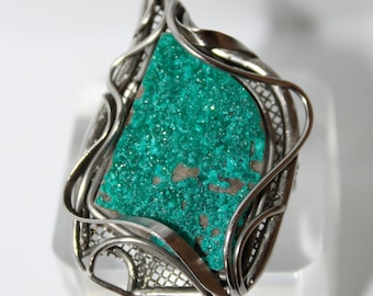 Dioptase Ring, 8 size, Russian jewelry,   WORLDWIDE FREE SHIPPING