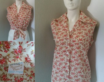 vintage 60s 70s Sandra Dee style floral sleeveless button up crop top PINUP shirt
