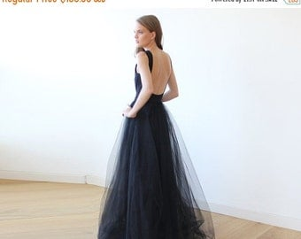 Black open back maxi tulle dress, Low back tulle gown