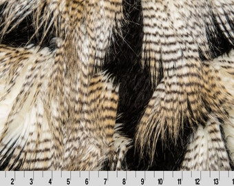 "Fancy Feather Faux fur black/gold 58"" fabric by the yard - 1 yard"