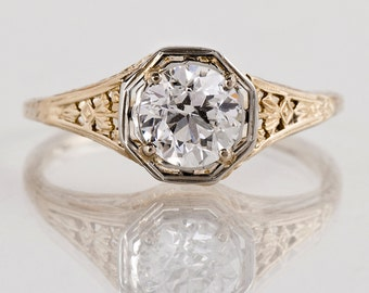 Antique Engagement Ring - Antique 1920s 14k White and Yellow Gold Diamond Engagement Ring