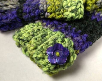 DRAGONFLY Chunky Crocheted Wrist Warmers - Charisma Yarn ~ Keep Warm in Style this Winter