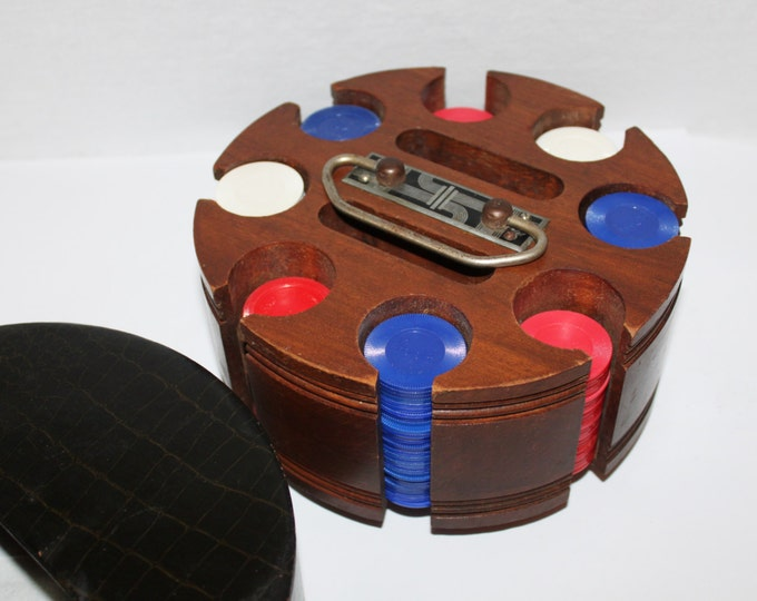 Vintage Mid-Century Pattberg Novelty Poker Caddy with Faux Alligator Hide Cover