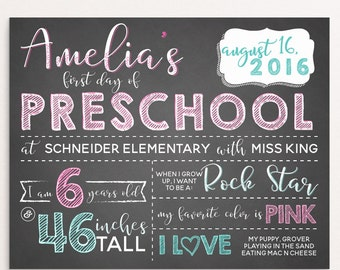 Girly First Day Of School Sign, Pink, Mint, Calligraphy, Kindergarten, Preschool, Back To School Sign, Digital Milestone Sign 8x10 or 11x14