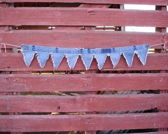 Upcycled Denim Swag Pennant Banner