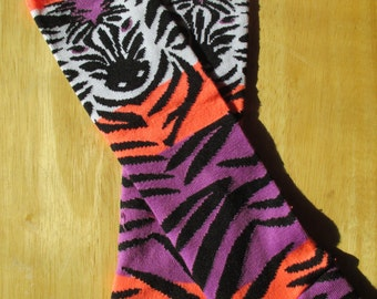 Leg Warmers  / Arm Warmers / Babylegs - Zebra with Purple, Orange, White and Black Stripes - Zoo, Fun, Adorable - Dees Transformations